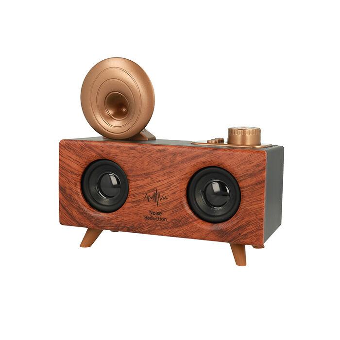 Gramofon alakú bluetooth-os hangszóró rádióval, nagy (B6), sötét barna