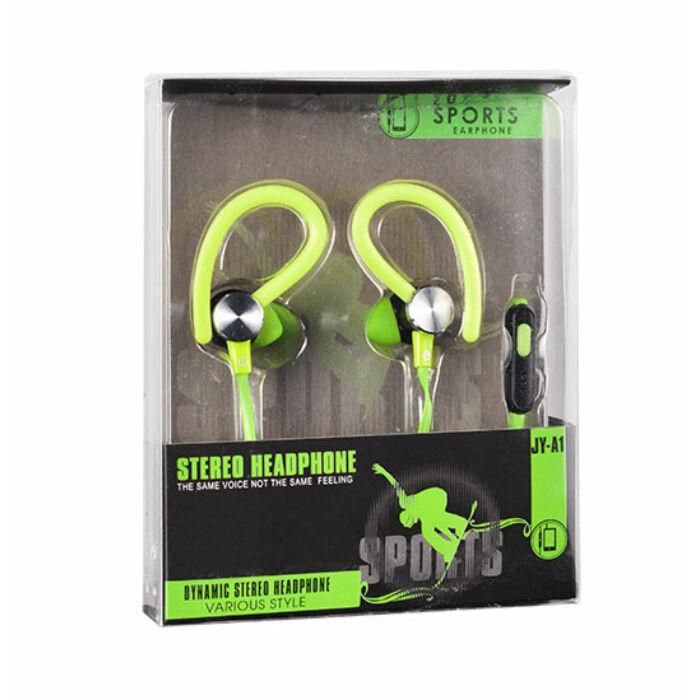 Univerzális sport vezetékes sztereó headset JY-A1 (3,5mm jack), zöld