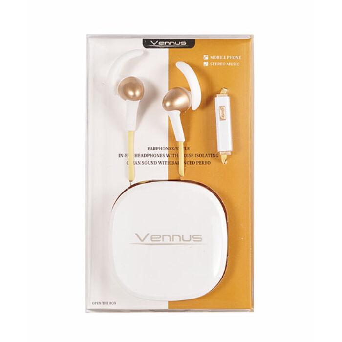 Univerzális Vennus sport vezetékes sztereó headset (3,5mm jack), arany