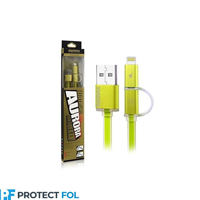 Remax Aurora 2in1 Apple iPhone 5, 6, 7, 8, X, 11, lightning  és micro USB kábel egyben 1M (RC-020t), zöld