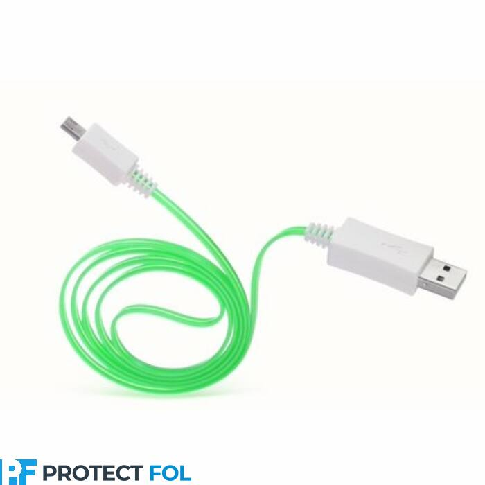 Micro USB LED kábel, világítós 1M, zöld